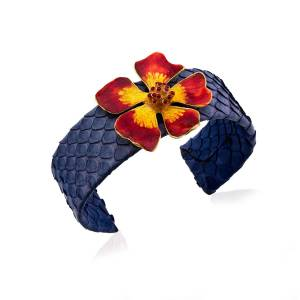 Milou Jewelry - Wild Rose Flower Adjustable Leather Cuff Bracelet - Red & Yellow