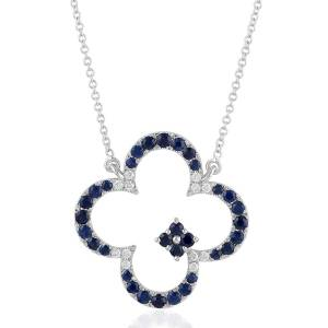 Artisan - 18K White Gold Clover Necklace With Pave Diamonds And Blue Sapphire