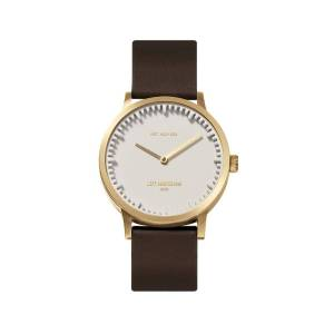 LEFF amsterdam - Leff Amsterdam T32 Watch With Brass Coloured Case White Dial & Brown Leather Strap