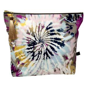 Rebecca J Mills Designs - Satin Tie Dye Print Weekend Travel Make Up Bag / Pouch With Soft Colourful Tassel