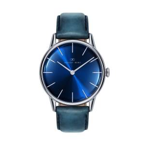 August Berg - August Berg Serenity Silver Classic Deep Blue - Blue Leather 32mm
