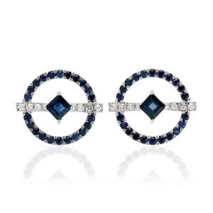 Artisan - 18K White Gold Earring With Diamond And Blue Sapphire