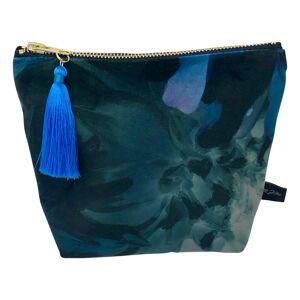Rebecca J Mills Designs - Small Velvet Make Up Bag/ Pouch In Botanic Print With Colourful Tassel