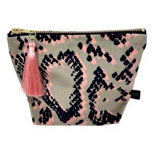Rebecca J Mills Designs - Small Velvet Snake Skin Print Make Up Bag / Pouch With Colourful Tassel