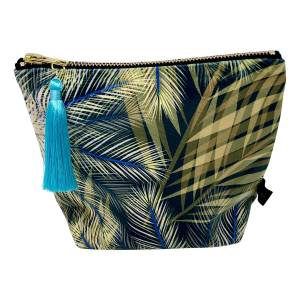 Rebecca J Mills Designs - Small Velvet Make Up Bag/ Pouch In Tropical Print With Colourful Tassel