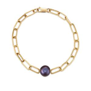 Serafin Jewellery - Single Midnight Pearl Handmade Link Bracelet