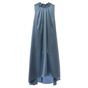 MIONÈ - Short Silk Dress With High Neck - Grey