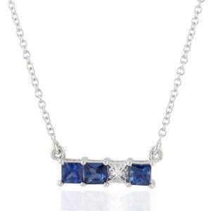 Artisan - 18K White Gold Blue Sapphire And Pave Diamond Bar Necklace