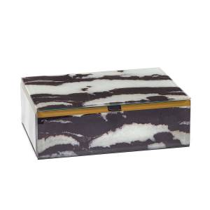 Lola Rose London - Stone Print Treasure Box Black Zebra Jasper