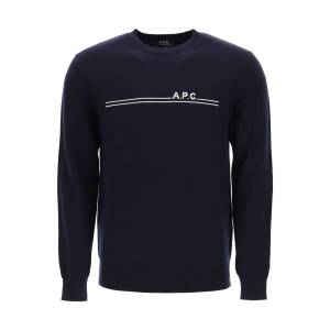 A.P.C. EPONYME SWEATER LOGO INTARSIA L Blue Cotton, Cashmere