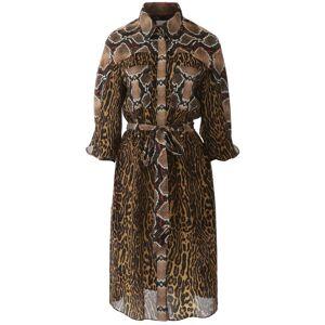 Burberry ANIMALIER COSTANZA DRESS 10 Brown, Black Silk