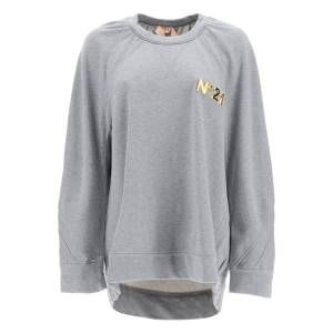 N.21 OVER SWEATSHIRT WITH GOLDEN LOGO 40 Grey, Gold Cotton