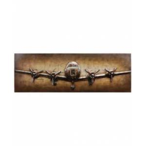 """Empire Art Direct Airplane Mixed Media Iron Hand Painted Dimensional Wall Art, 24"""" x 72"""" x 2.2""""  - Brown"""