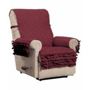P/Kaufmann Home Claremont Ruffled Recliner Furniture Cover  - Burgundy