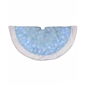 Northlight Led Iridescent Glitter Snowflakes Christmas Tree Skirt  - Blue