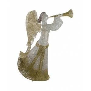 Northlight Cotton Thread Led Lighted Glitter Angel Outdoor Christmas Decoration  - Gold