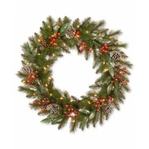 """National Tree Company 30"""" Frosted Pine Berry Wreath With Pine Cones, Berries, Eucalyptus Leaves & 50 Battery-Operated Led Lights  - Green"""