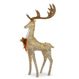 """National Tree Company 55"""" Pre-lit Crystal Champagne Standing Buck  - Gold"""