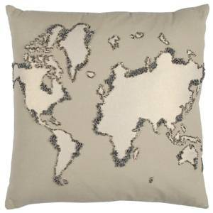 """Rizzy Home 20"""" x 20"""" World Map Poly Filled Pillow  - Brown"""