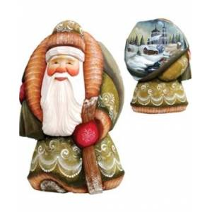 G.DeBrekht Woodcarved Hand Painted Here Comes Old World Santa Figurine  - Multi
