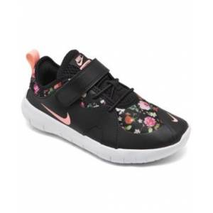 Nike Little Girls Flex Contact 4 Stay-Put Closure Running Shoes from Finish Line  - Black, Pink Tint