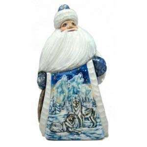 G.DeBrekht Woodcarved Hand Painted Woodcarved Santa Figurine  - Multi