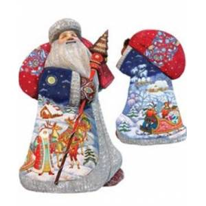 G.DeBrekht Woodcarved and Hand Painted Santa Christmas Courier Figurine  - Multi