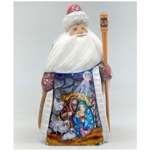 G.DeBrekht Woodcarved Hand Painted Nativity Santa Figurine  - Multi