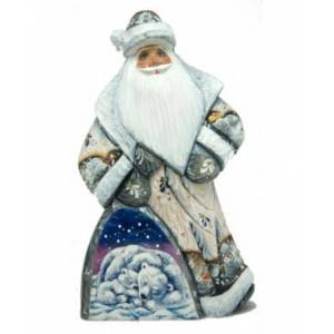 G.DeBrekht Woodcarved Hand Painted Polar Cubs Dancing Santa Figurine  - Multi