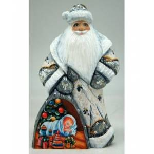 G.DeBrekht Woodcarved Hand Painted Baby's First Christmas Santa Figurine  - Multi