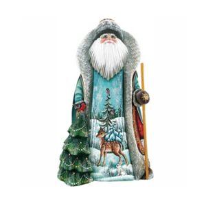 G.DeBrekht Woodcarved Hand Painted Peaceful Valley Santa Figurine  - Multi