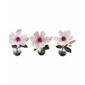 Nearly Natural 3-Pc. Magnolia Artificial Arrangement Set in Glass Votive Vases  - Pink
