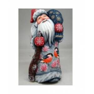 G.DeBrekht Woodcarved and Hand Painted Red Robbin Santa Masterpiece Signature Figurine  - Multi