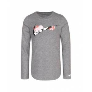 Nike Little Girls Long Sleeve Swoosh Logo Graphic T-shirt  - Carbon Heather