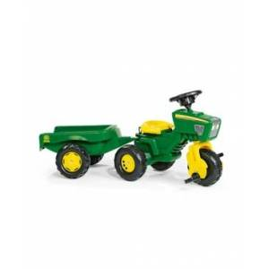 Rolly Toys John Deere 3 Wheel Trike Pedal Tractor with Removable Hauling Trailer