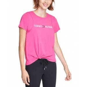 Tommy Hilfiger Sport Side-Knot Logo Print T-Shirt  - Fuchsia