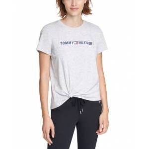 Tommy Hilfiger Sport Side-Knot Logo Print T-Shirt  - White Stone Heather