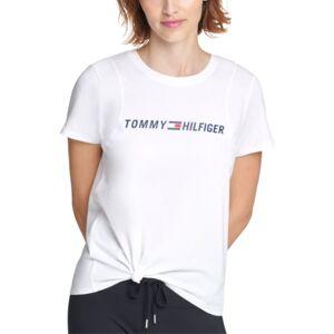 Tommy Hilfiger Sport Side-Knot Logo Print T-Shirt  - White