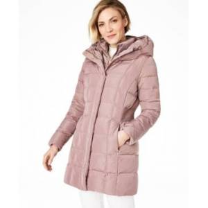 Cole Haan Hooded Down Puffer Coat  - Mauve