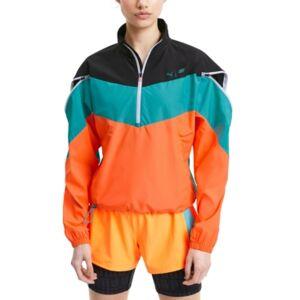 Puma Women's Train First Mile Xtreme Colorblocked Half-Zip Training Jacket  - Puma Black-viridian Green-ultra Orange