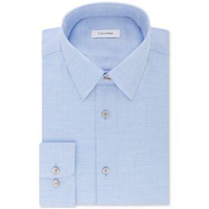 Calvin Klein Men's Steel Classic/Regular Non-Iron Stretch Performance Dress Shirt  - Stream