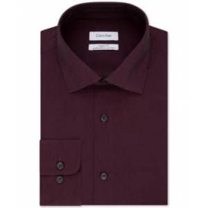 Calvin Klein Steel Men's Classic-Fit Non-Iron Performance Herringbone Spread Collar Dress Shirt  - Bordeaux