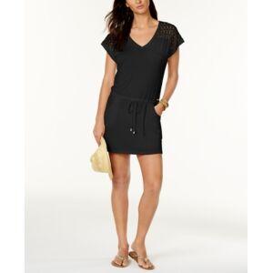 Calvin Klein Crochet-Shoulder Tunic Cover Up Women's Swimsuit  - Black