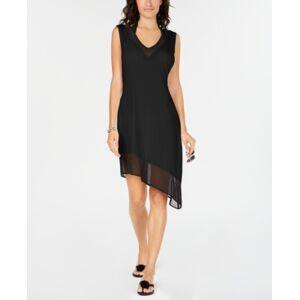 Calvin Klein Asymmetrical-Hem Cover-Up Women's Swimsuit  - Black