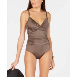 Calvin Klein Twist-Front Tummy-Control One-Piece Swimsuit, Created for Macy's Women's Swimsuit  - Bronze Shimmer