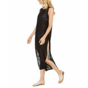 Calvin Klein Burnout Maxi Dress Swim Cover-Up, Created for Macy's Women's Swimsuit  - Black