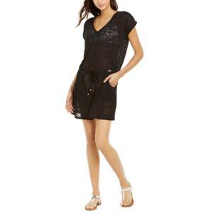 Calvin Klein Burnout Drawstring Tunic Swim Cover-Up, Created for Macy's Women's Swimsuit  - Black