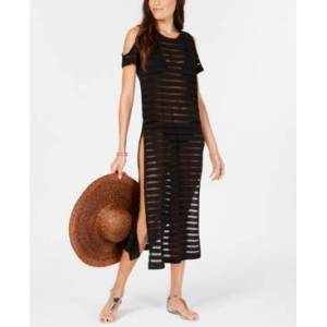 Calvin Klein Crochet Striped Cold-Shoulder Cover-Up, Created for Macy's Women's Swimsuit  - Black/black