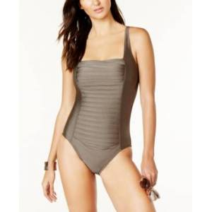 Calvin Klein Pleated One-Piece Swimsuit, Created for Macy's Women's Swimsuit  - Bronze