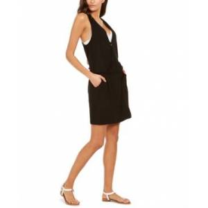 Calvin Klein Surplice Racer-Back Tunic Swim Cover-Up, Created for Macy's Women's Swimsuit  - Black